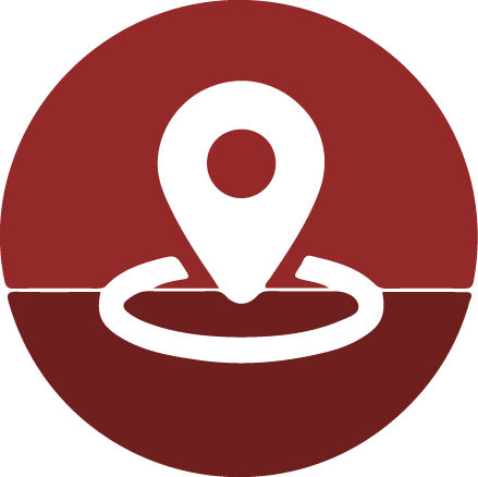 a red icon with a map marker in center